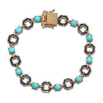 GP Enamelled Bracelet Turquoise Size 7.5 in 14ct Gold Plated Sterling Silver