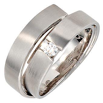 Naisten sormus 585 Kulta Valkoinen Kulta Matt 1 Diamond Brilliant 0.12ct. Valkoinen kultasormus