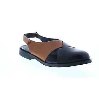 Campista TWS Mulheres Deslizamento de Couro Marrom Em Chinelos Mules Sapatos