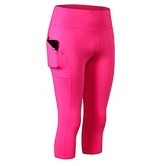 Kvinder Capri Leggings For Sport, High Waist Pocket Leggings 3/4