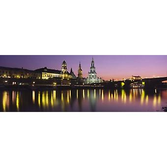 Reflection Of Buildings On Water At Night Dresden Germany Poster Print