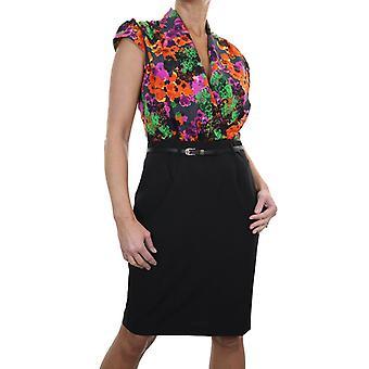 Mujeres's formal floral impresión bodycon vestido señoras forradas V cuello lavable trabajo de negocios lápiz vestido negro 10-12