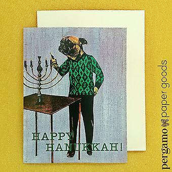 """""""happy Hanukkah"""" Pug Llighting A Menorah! Card"""