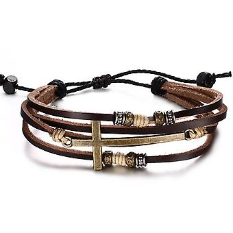 Genuine Leather Cross Bracelets Adjustable Bohemia Rope Chain Bangles for Men