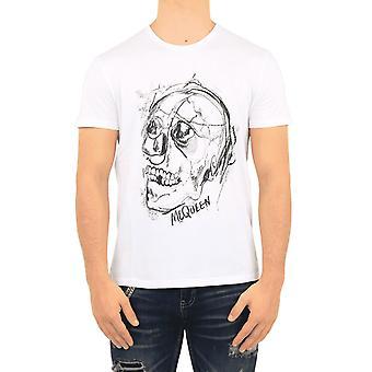 Alexander McQueen T-Shirt Metal Mol Vit 635632QPZ950900 Topp
