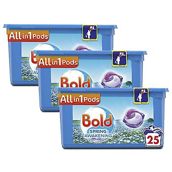 Bold All in 1 Pods Spring Awaking Washing Liquid, 25 Washes, Pack of 3