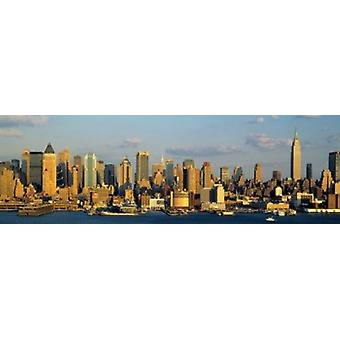 Hudson River City Skyline NYC New York City New York State VS Poster afdrukken