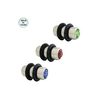 Double jeweled surgical steel ear plugs 4 gauge - 3 colors available bj52716