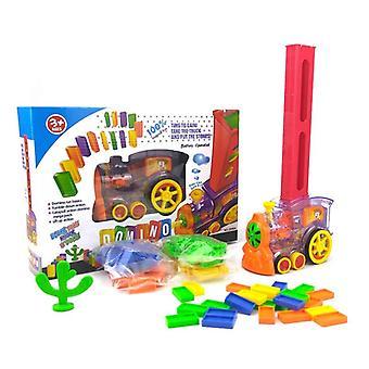 ドミノ列車ゲームキッズおもちゃ自動敷設車セット、カラフルなプラスチックドミノ