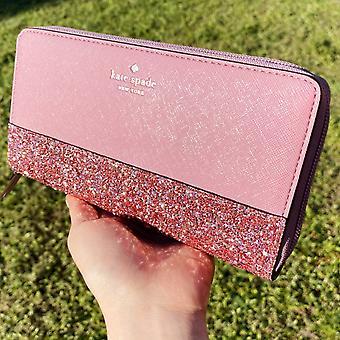Kate Spade Greta Court Neda zip ympärillä lompakko Glitter vaaleanpunainen Penoy