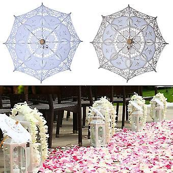 Vintage Spitze Regenschirm Baumwolle Sonnenschirm Sonne Stickerei Braut für Hochzeit