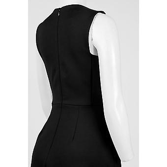 Embellished Neck Sleeveless Zipper Back Solid Scuba Dress
