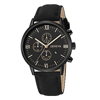 Fashion Geneva Date Alloy Case Synthetic Leather Analog Quartz Sport Watch