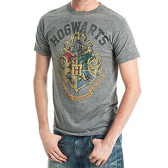 Harry potter hogwarts crest men's athletic heather t-shirt - wizard school