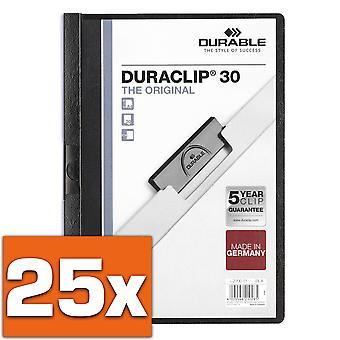 Durable 220001, 25 pièces, dossier de serrage Duraclip Original 30 (pour 1-30 feuilles A4), noir