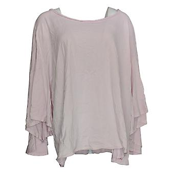 Peace Love World Women's Plus Top Wide-Sleeve Scoop-Neck Tee Pink A351881