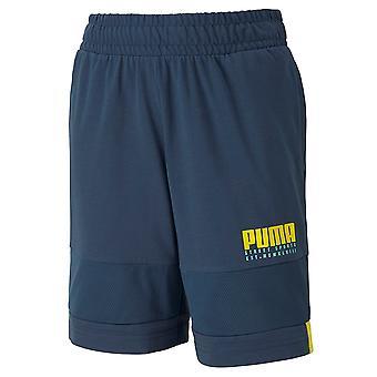 Puma Alpha Jersey Boys Shorts Graphic Logo Pants Blue 581277 43