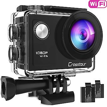 Crosstour action camera full hd wifi cycling riding vlog underwater 40m with 2 rechargeable batterie