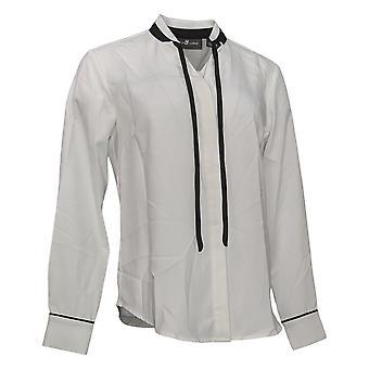 Elizabeth & Clarke Women's Top StainTech Tie Collar White A353170