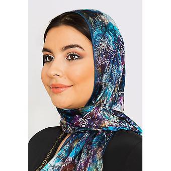 Women's sidensatinhuvudsduk i blått tryck