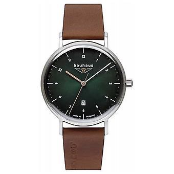 Bauhaus Heren Bruin Italiaans Lederen Band | Groene wijzerplaat 2140-4 horloge