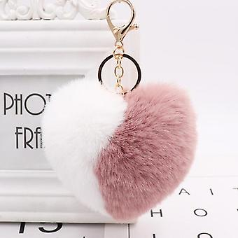 Love Heart Keychain, Pompom Ball With Two Colors, Plush Toy For Purse Bag,