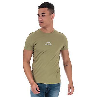 Mężczyźni&s Tommy Hilfiger Organic Cotton Arch Logo T-Shirt w kolorze zielonym