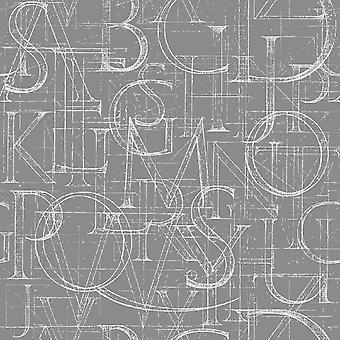 Szary alfabet Wielokolorowy dywan z poliestru, bawełny, L80xP200 cm