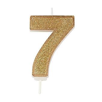 Vela numeral de brillo de oro - Número 7 - 70mm
