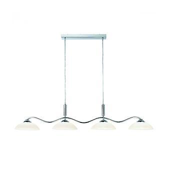 Colgante Con 4 Luces Colgantes, En Cromo Y Vidrio Esmerilado.