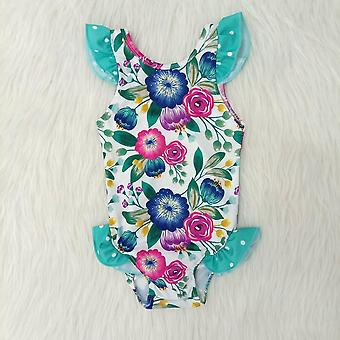 Swimsuit Summer Fashion Ruffle Design And Match Flower Pattern Romper