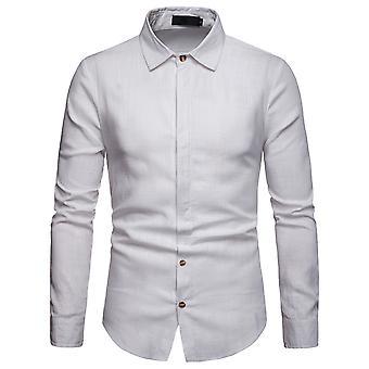 يانغفان الرجال زر أسفل قميص الكتان القمصان عارضة طويلة الأكمام خفيفة الوزن قمم عادي