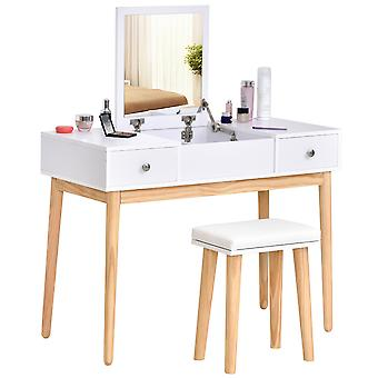 HOMCOM Dressing Table Set with Flip Top Mirror and Cushioned Stool, Makeup Vanity Dressing Table Dresser Desk with 2 Drawers and Storage Grids for Bedroom, White