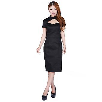 Chic Star Plus Size vestido de lápiz de cuello chino en negro
