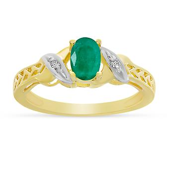 LXR 14k Yellow Gold Oval Emerald and Diamond Ring 0.31 ct