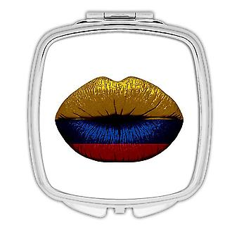 Gift Compact Mirror: Lips Colombian Flag Colombia