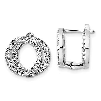 925 Sterling Silver CZ Cubic Zirconia Simulated Diamond Circle Front and Back Hinged Earrings Measures 12.7x12.7mm Wide