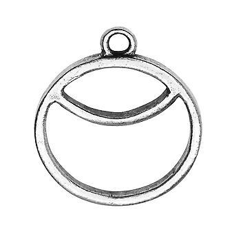 Pendentif Open Back Bezel, Circle Sunrise 23.5x27mm, Ant Silver, 1 Pc., par Nunn Design