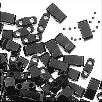 Miyuki Half Tila 2 отверстия прямоугольные бусины 5x2,3 мм - черный 7,8 грамм
