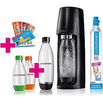 HanFei Easy Wassersprudler-Set Vorteilspack mit CO2 Zylinder, 1L PET-Flasche, 2x 0,5L PET-Flasche