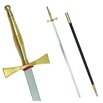 """Masonic svärd med guld- fäste och svart scabbard 35 3/4"""" + gratis fodral"""