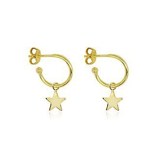 Boho betty dushku gold star charm hoop earrings