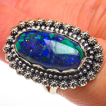 Large Azurite Ring Size 6.5 (925 Sterling Silver)  - Handmade Boho Vintage Jewelry RING66749