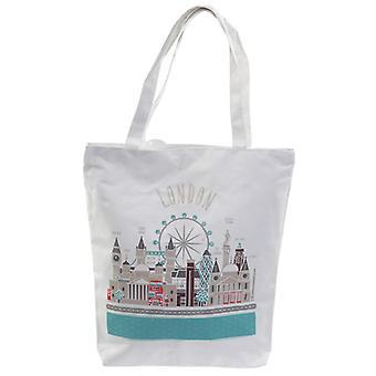 London Icons Handy Cotton Zip Up Shopping Bag