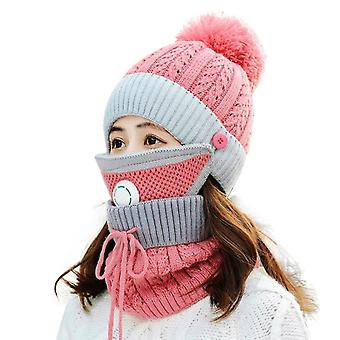 Winter Scarf Mask Set With Breathing Valve Thickened Knitted Hat(Pink)