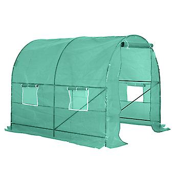 Outsunny Reinforced Walk In Polytunnel Greenhouse with Powder Coating Metal Frame And Zipped Door Windows (2.5 x 2M)