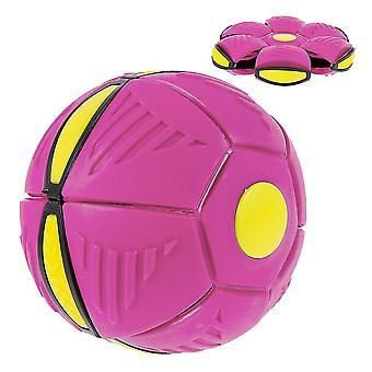 Világító Ufo csészealj labda deformált Flying Flat Throw Disc Ball Frizbi Szabadtéri Sport játék Játék (Pink)