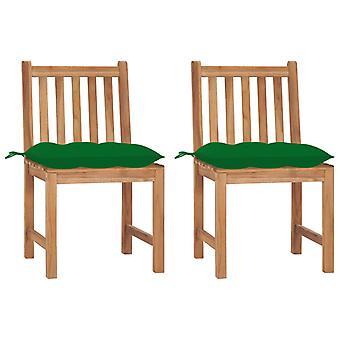vidaXL chaises de jardin 2 pcs avec oreillers en bois massif Teck