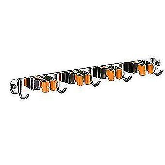 Stainless Steel Mop Hook Punch-free Multifunctional Wall-mounted Broom Holder(Orange)