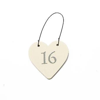 16 Mini Wooden Hanging Heart for 16th Birthday - Cracker Filler Gift